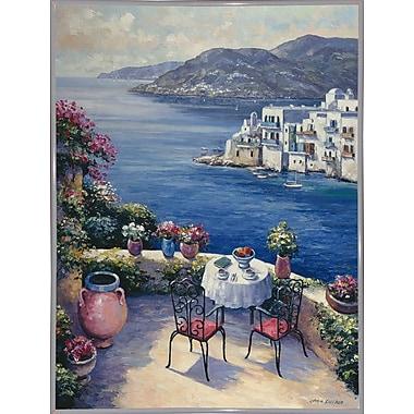 Fleur De Lis Living 'Aegean Vista' Graphic Art Print; White Metal Framed Paper