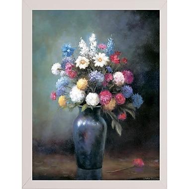 Charlton Home 'Floral B' Print; White Wood Medium Framed Paper