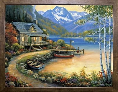 Charlton Home 'Fishing At The Lake' Graphic Art Print; Cafe Mocha Framed Paper
