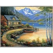 Charlton Home 'Fishing At The Lake' Graphic Art Print; Silver Metal Framed