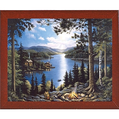 Loon Peak 'Cabin In The Woods' Graphic Art Print; Red Mahogany Wood Medium Framed Paper
