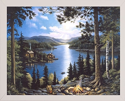 Loon Peak 'Cabin In The Woods' Graphic Art Print; White Wood Medium Framed Paper