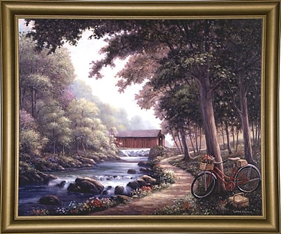 Loon Peak 'The Covered Bridge' Graphic Art Print; Bistro Gold Framed Paper