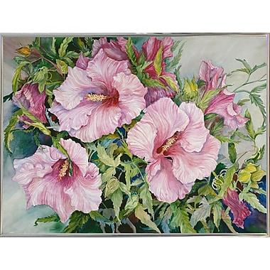 Winston Porter 'Pink Hibiscus' Print; Silver Metal Framed