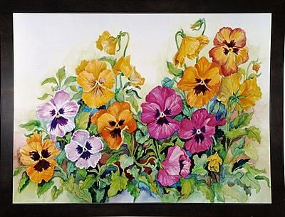 Winston Porter 'Amber Pansies' Print; Black Wood Medium Framed Paper