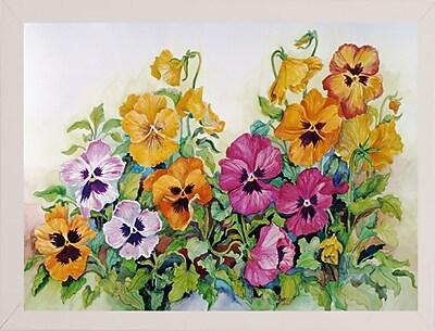 Winston Porter 'Amber Pansies' Print; White Wood Medium Framed Paper