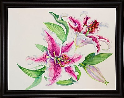 Winston Porter 'A Study Of Lilies' Print; Bistro Expresso Framed Paper