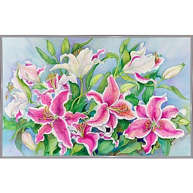 Winston Porter 'Lilies And Buds' Print; White Metal Framed