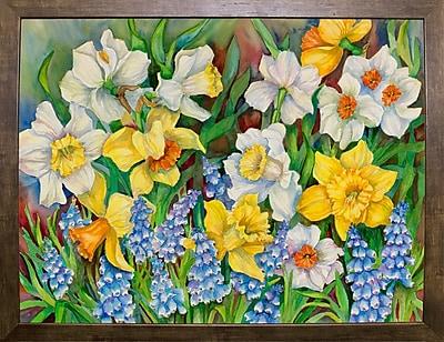 Winston Porter 'Daffodils And Grape Hyacinths' Print; Cafe Mocha Framed Paper