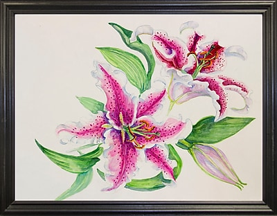 Winston Porter 'A Study Of Lilies' Print; Black Wood Grande Framed Paper
