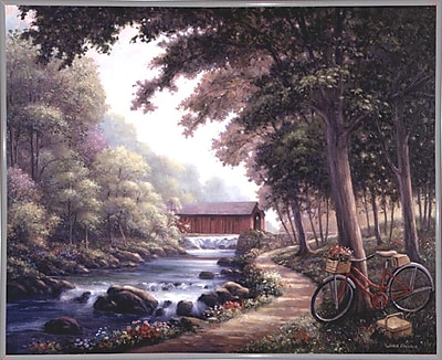 Loon Peak 'The Covered Bridge' Graphic Art Print; White Metal Framed Paper