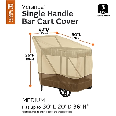 Red Barrel Studio Single Handle Bar Cart Cover; 30'' H x 25'' W x 36'' D