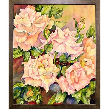 Red Barrel Studio 'Florida Roses' Print; Cafe Mocha Framed Paper