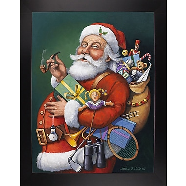 The Holiday Aisle 'Saint Nick and All His Toys' Graphic Art Print; Black Wood Large Framed Paper