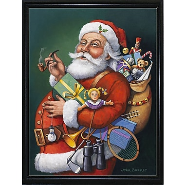 The Holiday Aisle 'Saint Nick and All His Toys' Graphic Art Print; Flat Back Metal Framed