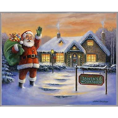 The Holiday Aisle 'Santa's Workshop' Graphic Art Print; White Metal Framed