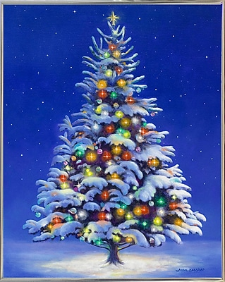 The Holiday Aisle 'Christmas Tree' Graphic Art Print; Silver Metal Framed
