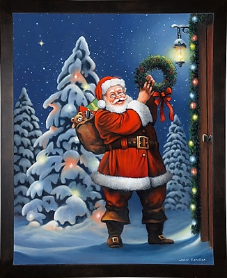The Holiday Aisle 'Santa Wreath' Graphic Art Print; Cafe Espresso Wood Framed Paper