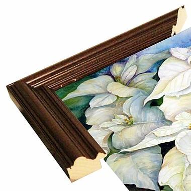 Winston Porter 'White Poinsettia' Print; Cherry Wood Grande Framed Paper