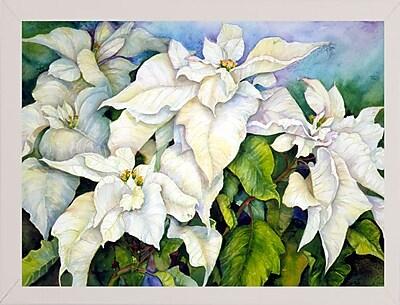 Winston Porter 'White Poinsettia' Print; White Wood Medium Framed Paper