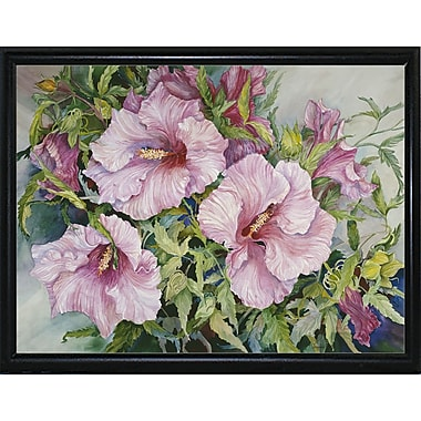 Winston Porter 'Pink Hibiscus' Print; Flat Back Metal Framed