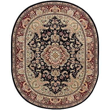 Astoria Grand Bryony Hand Woven Wool Black/Brown Indoor Area Rug; Oval 7'6'' x 9'6''