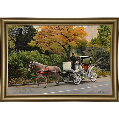 Alcott Hill 'Carriage At Central Park' Graphic Art Print; Bistro Gold Framed Paper