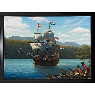 Breakwater Bay 'Half Moon On The Hudson' Graphic Art Print; Black Plastic Framed Paper
