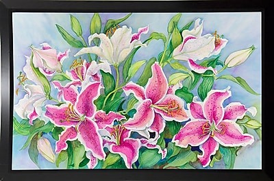 Winston Porter 'Lilies And Buds' Print; Black Plastic Framed Paper
