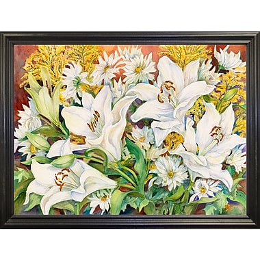 Winston Porter 'Lilies and Daisys' Print; Black Wood Grande Framed Paper
