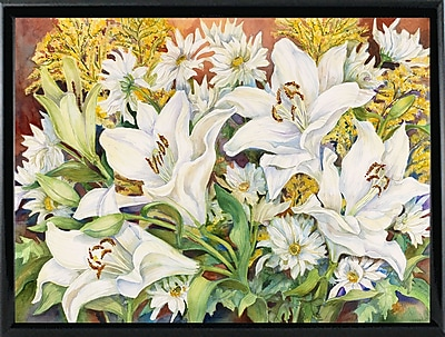 Winston Porter 'Lilies and Daisys' Print; Shiny Black Metal Framed