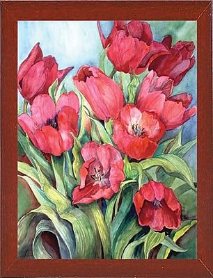 Winston Porter 'Red Tulips' Print; Red Mahogany Wood Medium Framed Paper