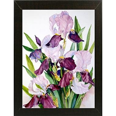 Winston Porter 'Pink & Maroon Iris' Print; Brazilian Walnut Wood Medium Framed Paper