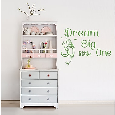 Decal House Dream Big Little One Wall Decal; Lemon Green