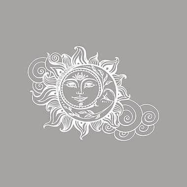 Decal House Sun and Crescent Moon Wall Decal; White