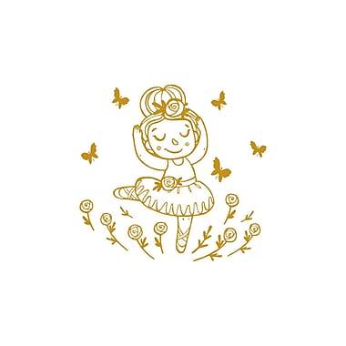 Decal House Cartoon Ballerina w/ Butterflies Wall Decal; Gold