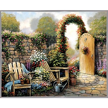 Charlton Home 'Garden Patio' Graphic Art Print; White Metal Framed