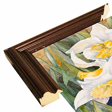 Highland Dunes 'Daffodil Heads' Print; Cherry Wood Grande Framed Paper
