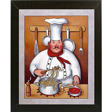 Fleur De Lis Living 'Chef 4' Graphic Art Print; Brazilian Walnut Wood Medium Framed Paper