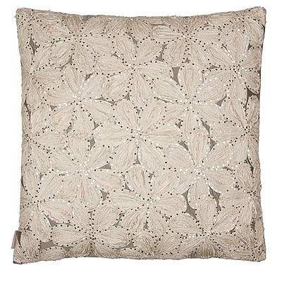 Sivaana Flower Throw pillow; Ecru