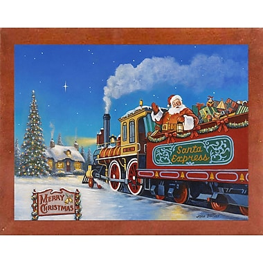 The Holiday Aisle 'Santa Express' Graphic Art Print; Canadian Walnut Wood Medium Framed Paper