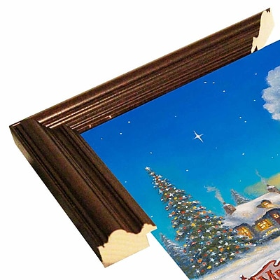 The Holiday Aisle 'Santa Express' Graphic Art Print; Cherry Wood Grande Framed Paper