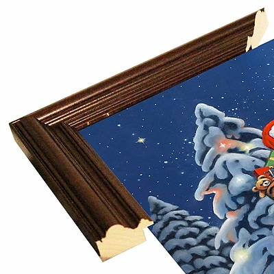 The Holiday Aisle 'Santa Wreath' Graphic Art Print; Cherry Wood Grande Framed Paper