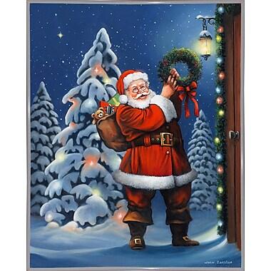 The Holiday Aisle 'Santa Wreath' Graphic Art Print; White Metal Framed