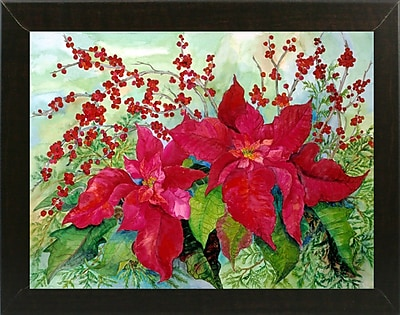 The Holiday Aisle 'Red Poinsettia' Print; Brazilian Walnut Wood Medium Framed Paper