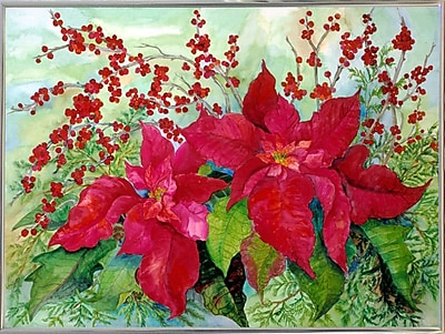 The Holiday Aisle 'Red Poinsettia' Print; Silver Metal Framed Paper