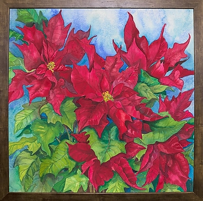 The Holiday Aisle 'Red Oak Leaf Poinsettias' Print; Cafe Mocha Framed Paper