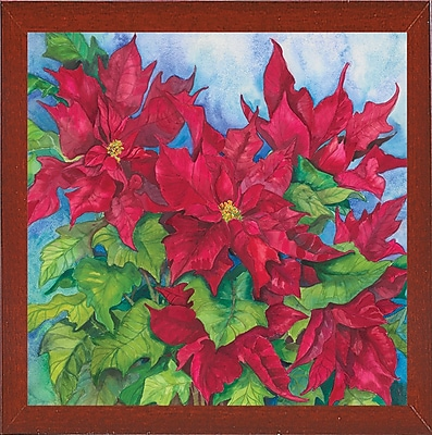 The Holiday Aisle 'Red Oak Leaf Poinsettias' Print; Red Mahogany Wood Medium Framed Paper