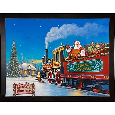 The Holiday Aisle 'Santa Express' Graphic Art Print; Cafe Espresso Wood Framed Paper