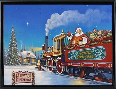 The Holiday Aisle 'Santa Express' Graphic Art Print; Shiny Black Metal Framed